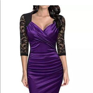 Miuso Large V-neck  Lace Purple Dress